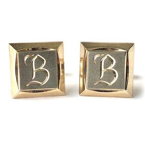 Vintage Hickok Letter B Cufflinks Two Tone Square
